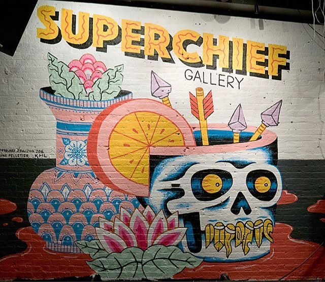 @kliuwong and my mural for @superchiefgallery ! Come see it tonight! Brooklyn!