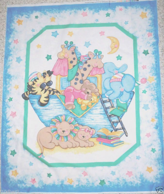 Two By Two Noah S Ark Fabric Panel Cotton Babyquilt Top