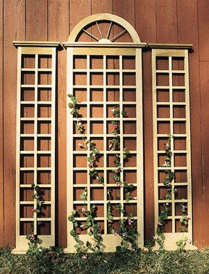 """The Palladian Trellis Emulating the beautifully proportioned windows popular in traditional buildings, this large, three-piece trellis incorporates a strong ¾"""" x 1"""" lattice and spoke copper mullions. http://www.trellisstructures.com/trellises/palladian-trellis.html"""