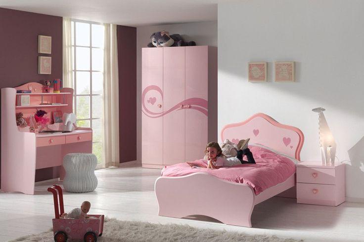 Chambre - Composition chambre design avec motifs coeur pour fille coloris rose - COMFORIUM