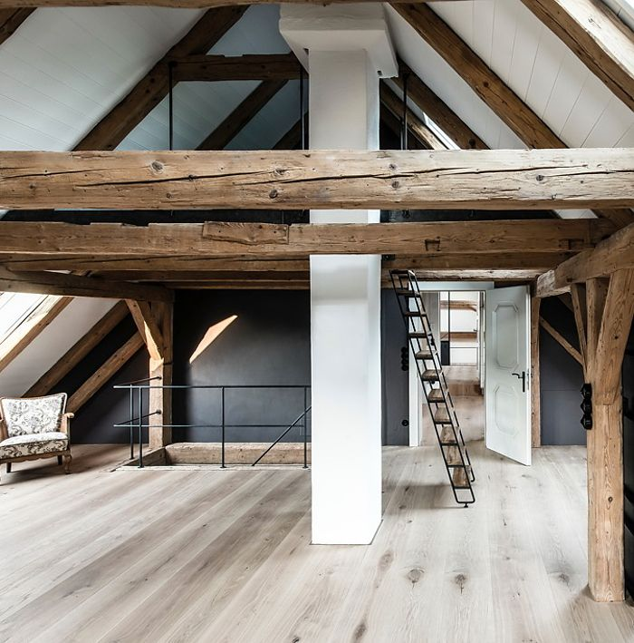 Love the way this former barn & farmhouse in southern Germany has been combined & renovated. With a modern, industrial look & beautiful minimal finishes + all the exposed beams … stunning. Photos by Benjamin Antony Monn for NYTimes. x debra follow on bloglovin' via savor home