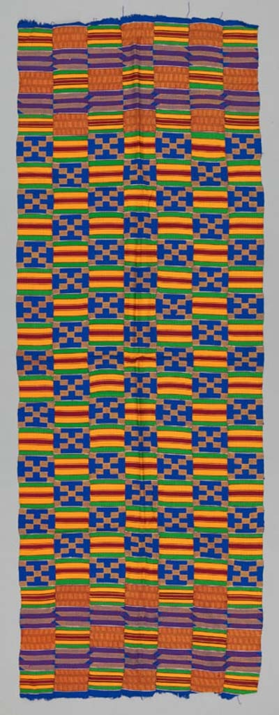 Africa | A Kente Shoulder Cloth from the Asante people of Ghana | ca. 1970 | 188cm x 70cm | Raylon