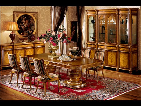 Dining room set with refined inlays with ash burl, Celyon satinwood and rosewood. Gold leaf details #abstyle #abproduction #italianstyle
