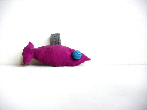 Aldo the fish  fabric keychain  ooak soft sculpture by fattidame, €8.00