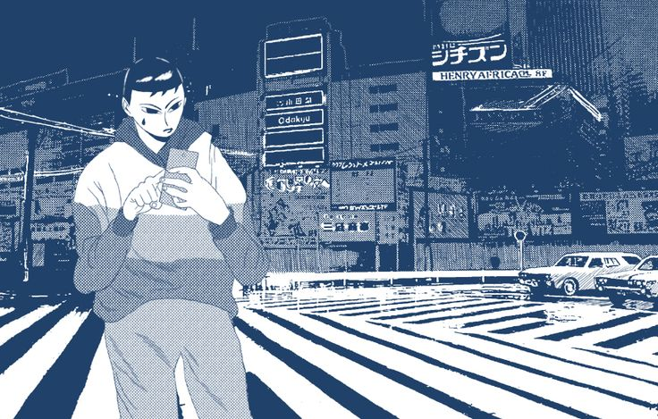 Sadbøi in Tokyo? This lame piece of crap is my first attempt ever at making a 100% digital illustration. the background was of course made using the Inio Asano method.