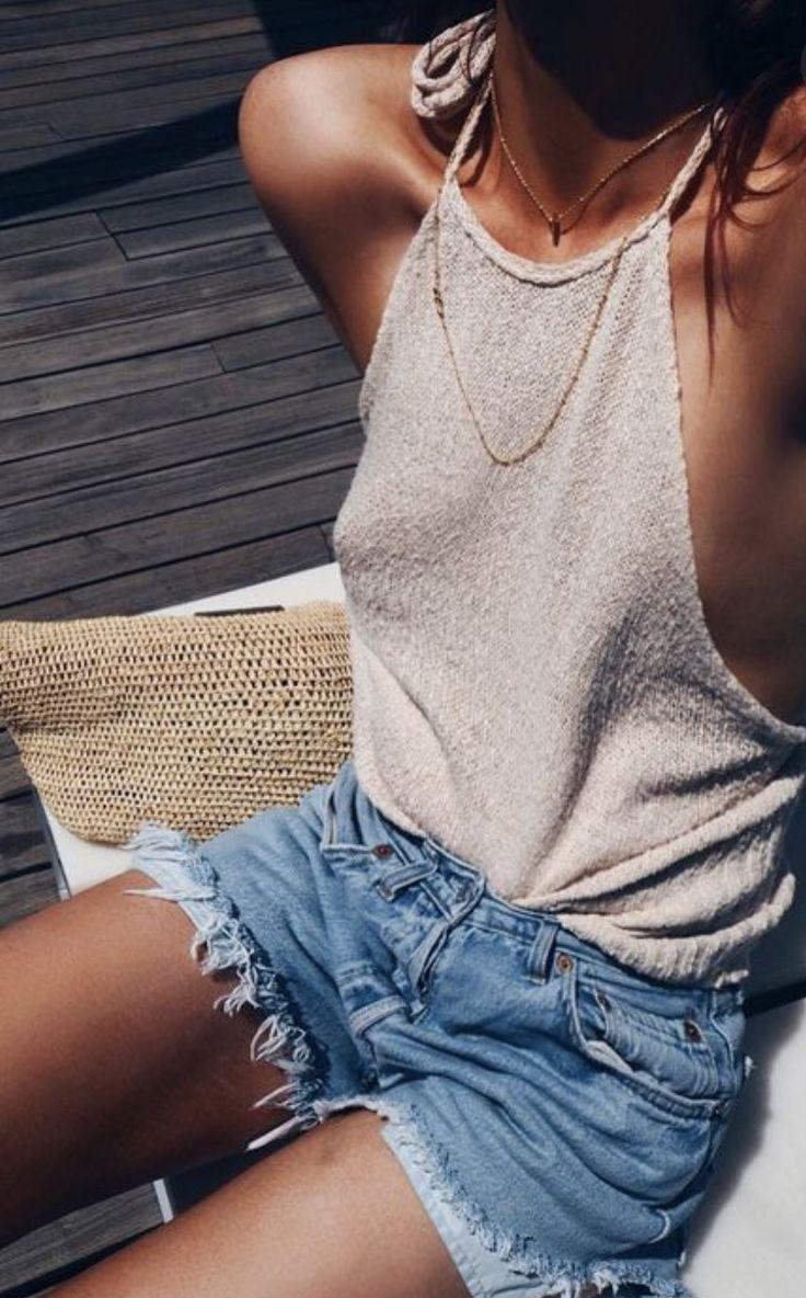 halter tanks + frayed shorts #summerstyle