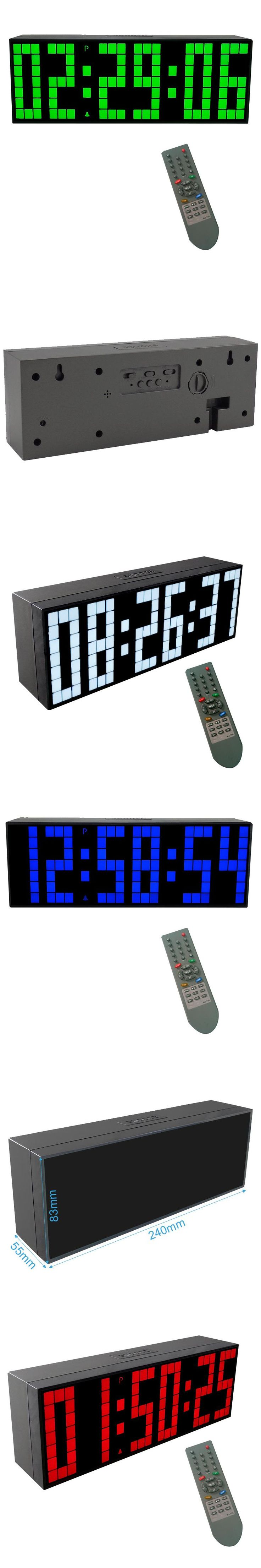 CH KOSDA Remote Control Large Digital LED Alarm Clock Countdown Timer Big Screen Sports Stopwatch Snooze Temperature Home Decor