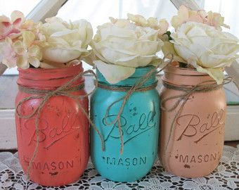3 Pint Mason Jars, Decorative Mason Jars, Wedding Centerpiece, Teacher appreciation Gift, Coffee Table Home Decor, Coral And Turquoise Vases