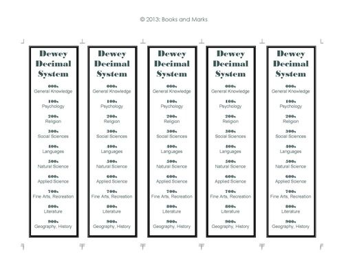 It's just an image of Remarkable Dewey Decimal System Printable Bookmarks
