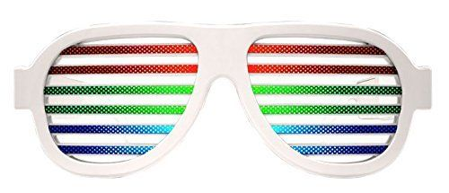 POOME LED Glow Party Glasses Sound Active Light Up Flashing Glasses LED Musical Shades Sound with USB Charger Best Toy for Teens Party Supplies (White)