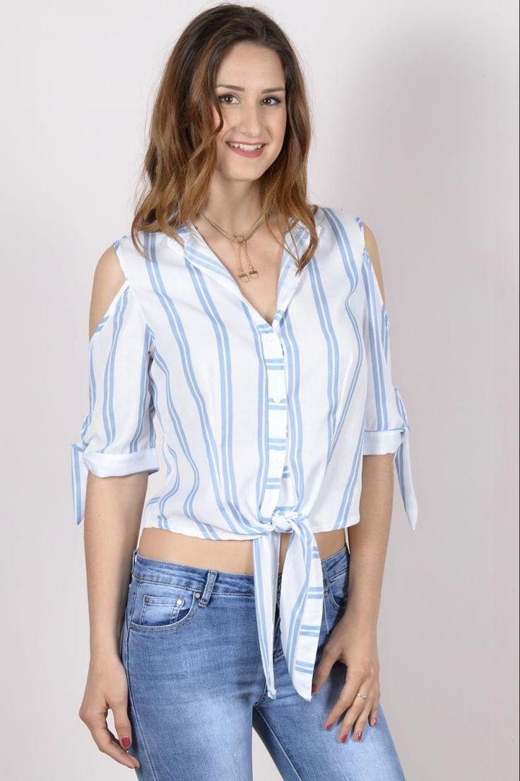 Ριγέ πουκάμισο με ανοίγματα.Ύψος μοντέλου: 1,78mΜέγεθος μοντέλου : S/M65% Polyester 35% Cotton