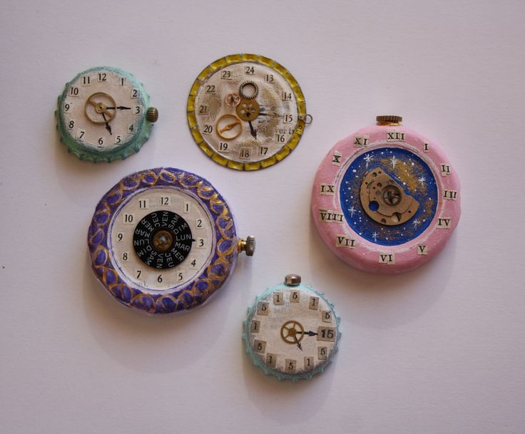'The Time is 5.15.' Bottle tops with mixed media and watch elements. Ginny Rose, 2015