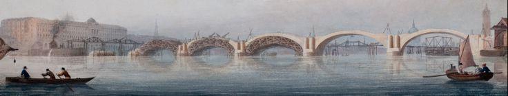 Rennie's Waterloo Bridge under construction across the Thames in London. - John Rennie  @Institution of Civil Engineers: Licensor Institution of Civil Engineers