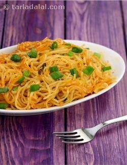 For those who love their noodles spicy! this preparation is a must for the chilli and garlic lovers and the fact that it is really simple to cook, makes it an all time favourite. Serve it immediately to enjoy it to the fullest.