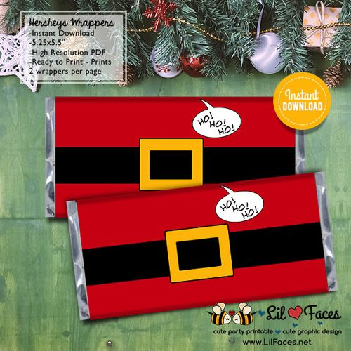 Cute Santa Claus Belt Christmas Favors - Hershey's 1.55oz. Candy Bar Wrapper - X-mas Personalized printables will save you time and money while making your planning a snap!
