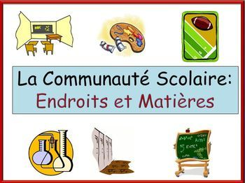 This powerpoint has pictures of school subjects and locations with the French words (28 total). There are then four vocabulary games. The first has all of the pictures with a word in the middle. Students identify the picture and the on the click the pictures all leave the screen except the correct one.