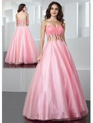 Tulle A-line Strapless Sweetheart Ruffled Long Prom Dress