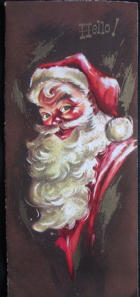 Vintage Christmas Greeting Card Long Bearded Santa w Glitter