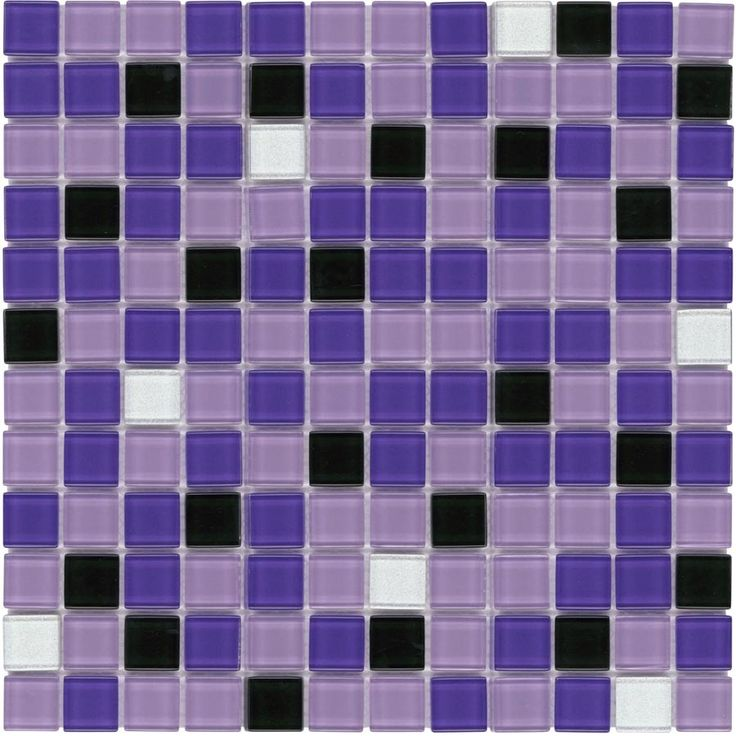 Glass Mosaic Tile Backsplash Purple Blend 1x1 Purple