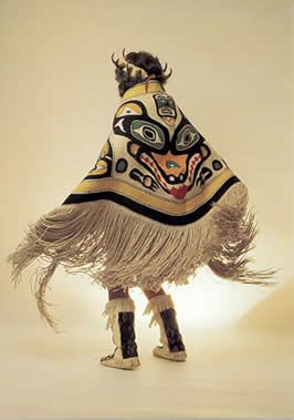 Chilkat blanket woven by master weaver Jennie Thluanaut. Chilkat weaving is a art practiced by the Tlingit and Haid people of the Pacific Northwest. Sheldon Museum and Cultural Center.