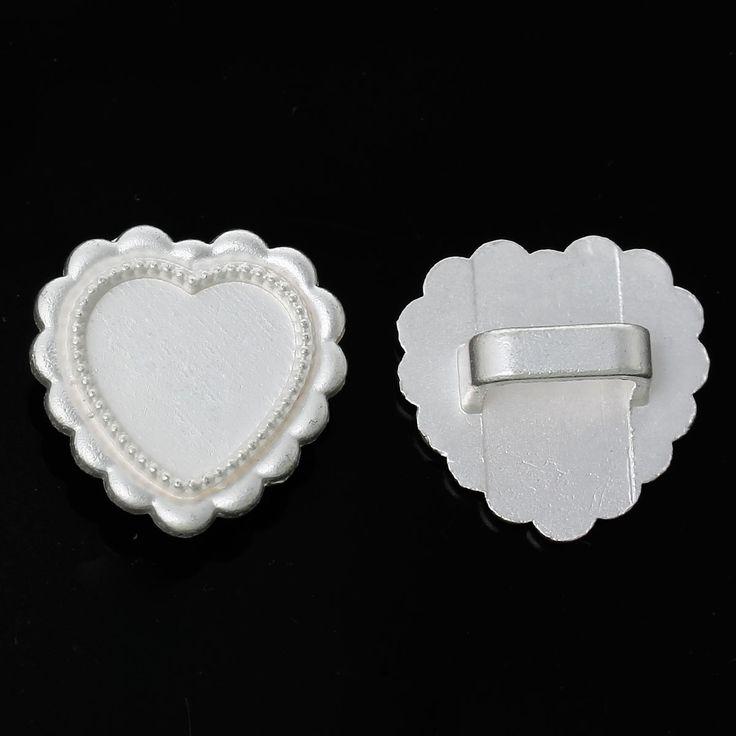 DoreenBeads Ползунок Бисер Сердце Matt Silver (Fit 10x6 мм Шнур) Настройки Кабошон (Fit 15 мм x 13 мм) Около 22 мм х 22 мм, 5 Шт. 2015 новый