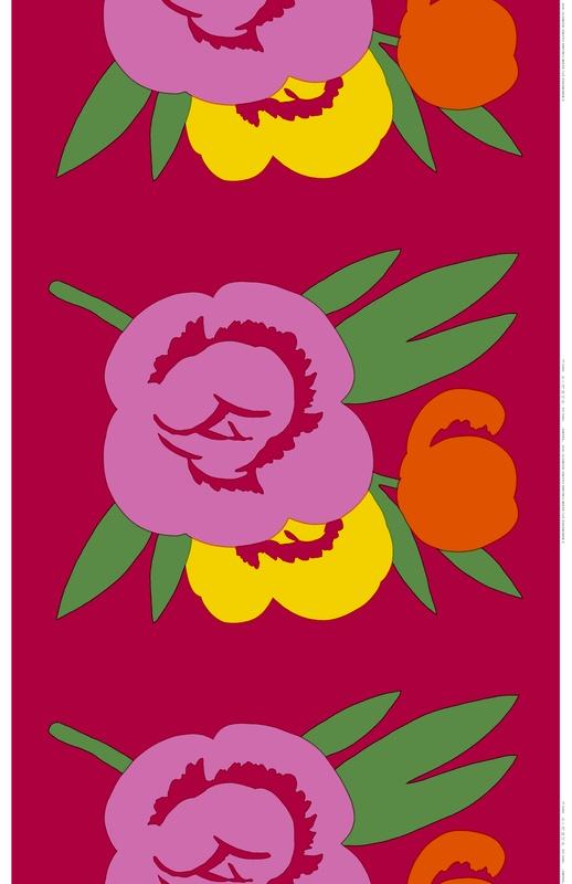 "I love these bright colors.   Kuuma, design Fujiwo Ishimoto for Marimekko.  It means ""hot."""