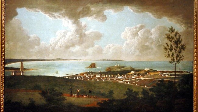 Newcastle c.1818 by convict artist Joseph Lycett(he had been transported to Sydney for 14yrs for forgery)