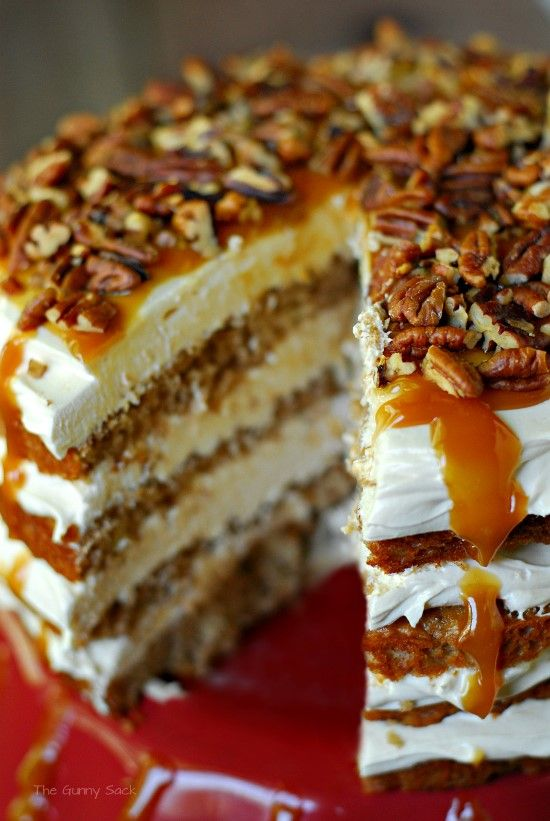 Caramel Apple Mousse Cake recipe - layers of #apple #cake, creamy caramel mousse topped off with pecans and caramel