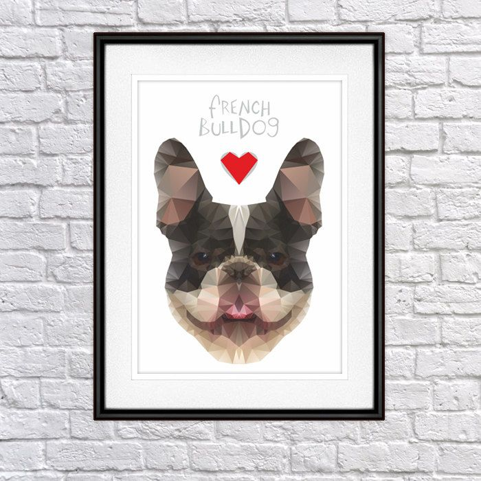 French Bulldog Digital Poster Print, Wall Decor, Geo Cubistic Fatty by PSIAKREW on Etsy