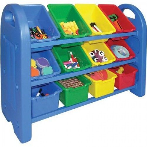3Tier Toy Storage Organizer Bins Rack Shelves Multi Color Play Bed Room Daycare  #ECR4Kids