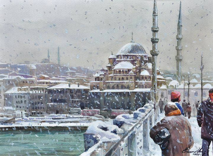 Tablolardaki İstanbul -  Suluboya,   Yapıt Sahibi: Ömer Muz