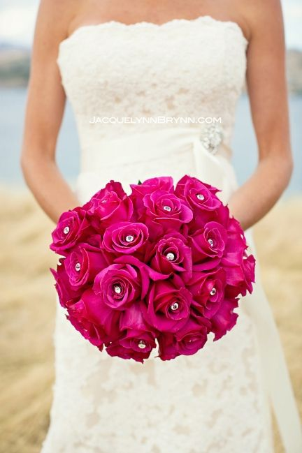 Lake Chelan Florist Wedding Bouquets | Lake Chelan Flowers-hot pink rose bouquet
