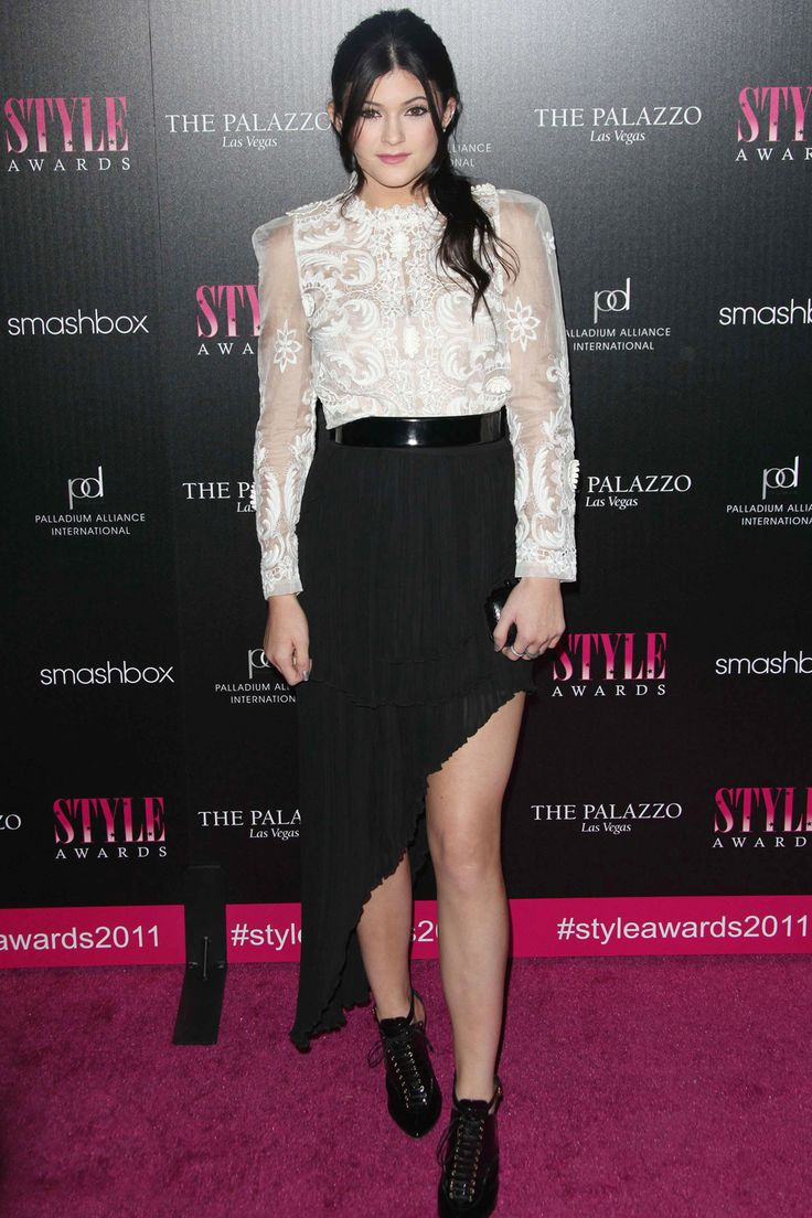 Kylie Jenner Wears A Sheer Lace Blouse And Skirt To The Hollywood Style Awards, 2011