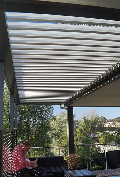 Louvre Roof Verandah with aluminum frame and colorbond slats on deck