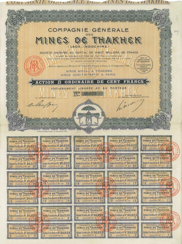 Mines de Thakhek Comp. Gen. des - #scripomarket #scriposigns #scripofilia #scripophily #finanza #finance #collezionismo #collectibles #arte #art #scripoart #scripoarte #borsa #stock #azioni #bonds #obbligazioni