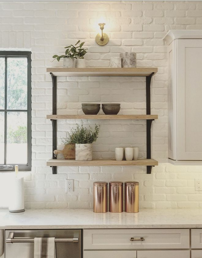 Brick Backplash The Backplash Is Brick And It S Painted In Benjamin Moore Simply White The White Brick Wall Kitchen Brick Wall Kitchen Interior Design Kitchen