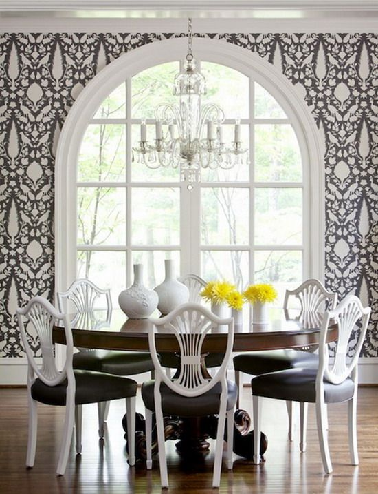 dark wood table white chairs - Google Search: Dining Rooms, Interior Design, Ideas, Chair, Black And White, Dinning Room, Wallpapers, House