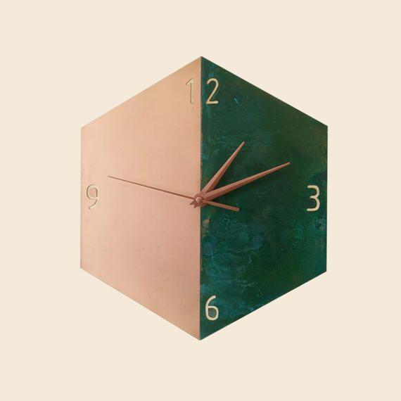 copper wall clock modern wall clock patina copper clock minimalist design hexagon wooden clock