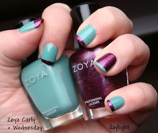 Teal & Purple - Zoya Wednesday and Zoya Carly!Zoya Cars, Teal Purple, Nailart, Nails Hair Makeup, Purple Nails, Hair Nails, Fashion Nails, Zoya Wednesday, Art Nails