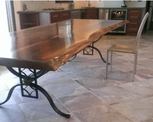 Live Edge Table With Wrought Iron Base Handcrafted By Woodland Creek  Furniture Is Custom Sizes To