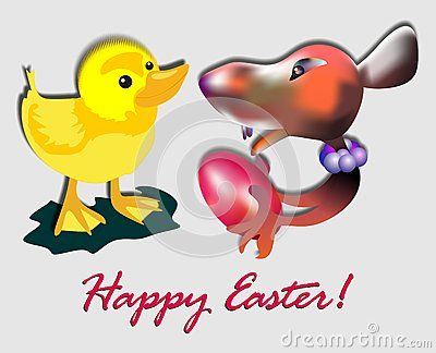 A small mouse is giving a red egg to a yellow chicken with easter text and wishes. Unusual and very funny image.