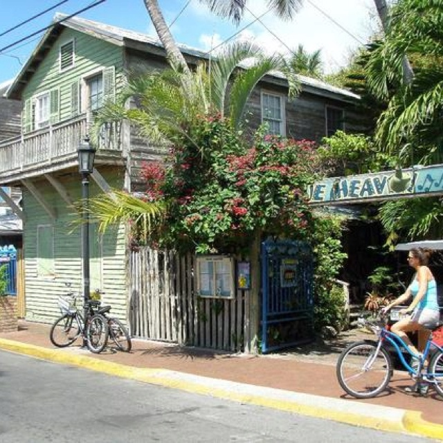Blue Heaven, Key West, Florida, located in historic Bahama Village section. Phenomenal food of Caribbean & vegetarian cuisines, with a colorful history in the most unique laid-back environment with funky ambiance. Chickens run under foot at outside tables under giant tree canopy. The 100+ year olf building has been an ice cream parlor, bordello, & Hemingway once refereed boxing matches here.
