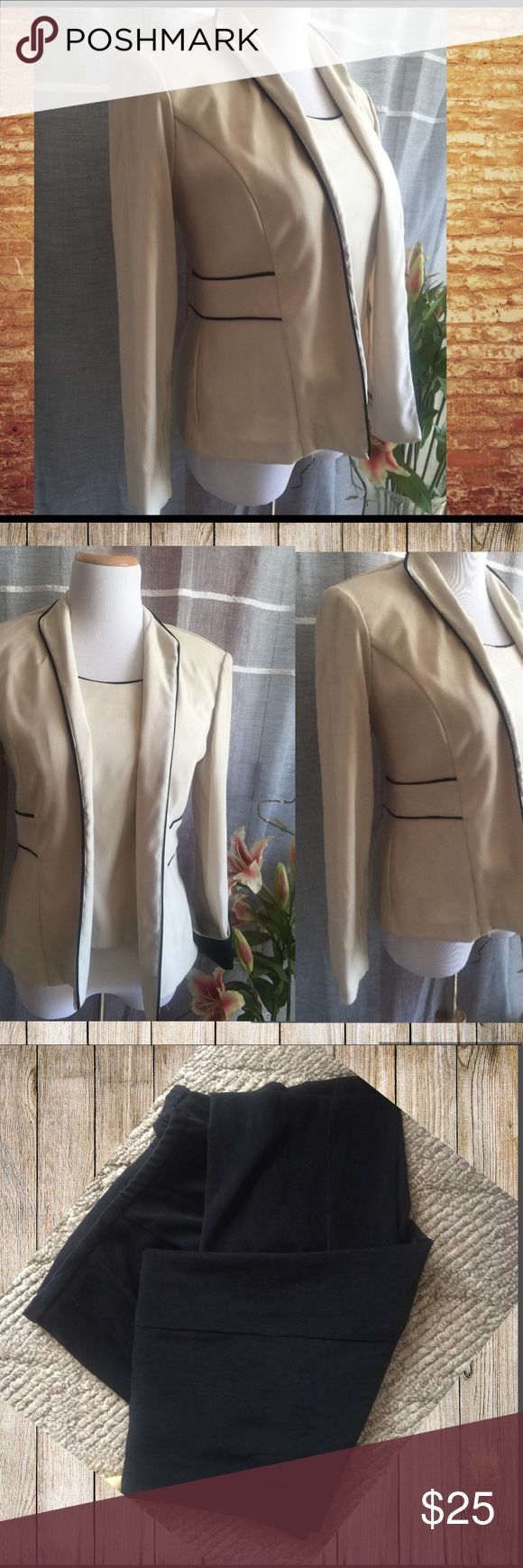 Ladies three piece vest, jacket and pants suit Jessica Howard 3 piece suit. It's a cream color with black trim.  Please note the vest reflects a shadow around collar. I'm not thinking it's stained but a reflection of the back trim. As other pictures show. But I'm selling making you aware and price reflects it Jessica Howard Skirts Skirt Sets