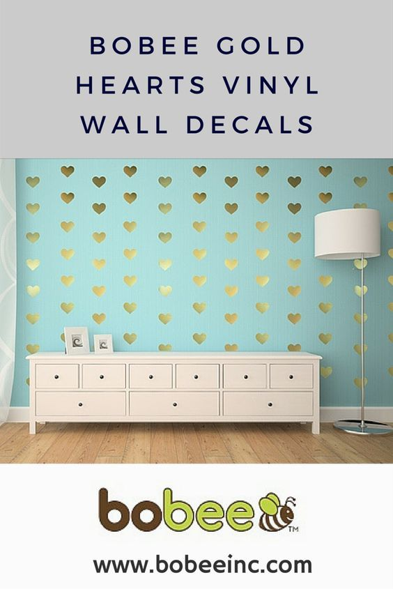 Gold heart vinyl wall decals, these are adorable for a little girls room or playroom.