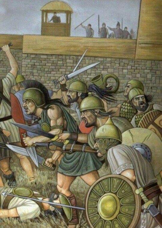 Los numantinos salen de las murallas de Numantia