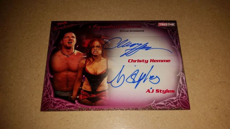 TNA Signature Curves Duo Autographed Card Christy Hemme AJ Styles 29/75