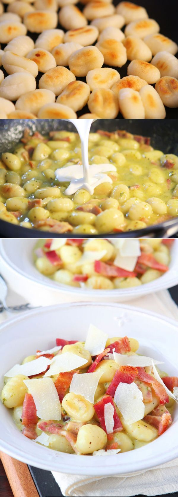 Creamy Pesto Gnocchi With Bacon Parmesan ~ Instead of making usual pasta for dinner try to implement this recipe with puffy potato gnocchi!