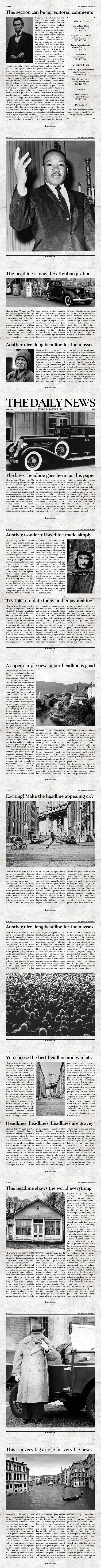 Vintage InDesign Newspaper Template #vintagenewspaper #1920snewspaper