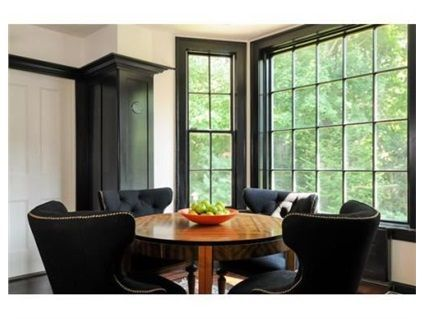 black window trim with white walls