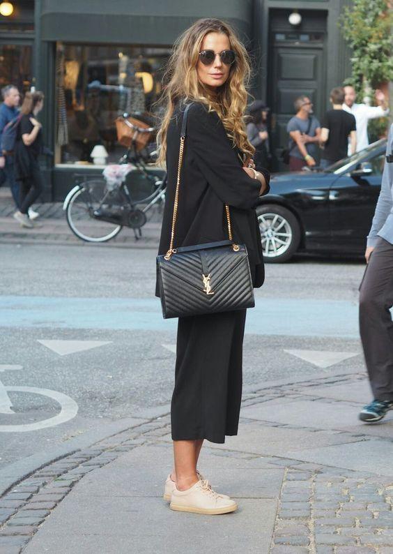 Loose cropped black pants // black blazer // YSL b…